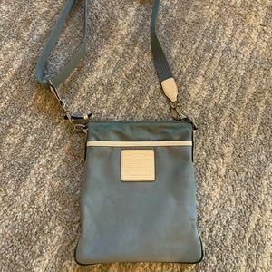 Slate blue coach crossbody purse bag
